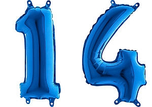 Luftballon Zahl 14 Zahlenballon blau (66 cm)