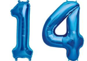 Luftballon Zahl 14 Zahlenballon blau (86 cm)