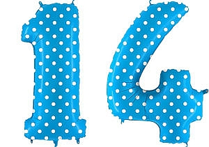 Luftballon Zahl 14 Zahlenballon blau mit weißen Punkten (100 cm)