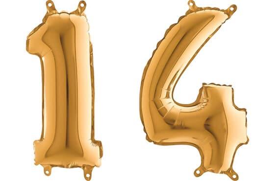 Luftballon Zahl 14 Zahlenballon gold (66 cm)