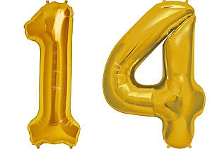 Luftballon Zahl 14 Zahlenballon gold (86 cm)