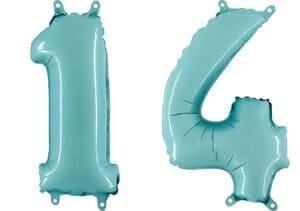 Luftballon Zahl 14 Zahlenballon pastell-blau (100 cm)