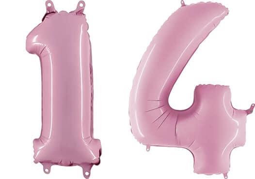 Luftballon Zahl 14 Zahlenballon pastell-pink (100 cm)