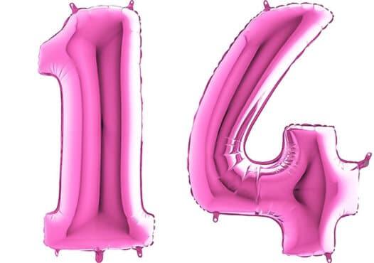 Luftballon Zahl 14 Zahlenballon pink (66 cm)