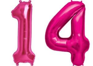 Luftballon Zahl 14 Zahlenballon pink (86 cm)