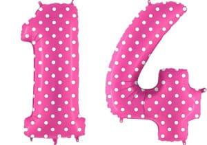 Luftballon Zahl 14 Zahlenballon pink mit weißen Punkten (100 cm)