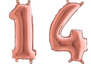 Luftballon Zahl 14 Zahlenballon rosegold (66 cm)