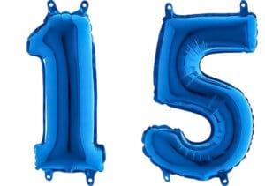 Luftballon Zahl 15 Zahlenballon blau (66 cm)