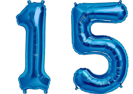 Luftballon Zahl 15 Zahlenballon blau (86 cm)