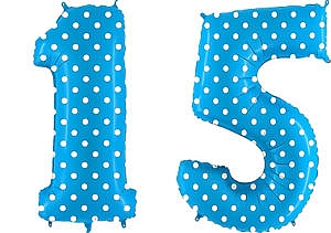 Luftballon Zahl 15 Zahlenballon blau mit weißen Punkten (100 cm)