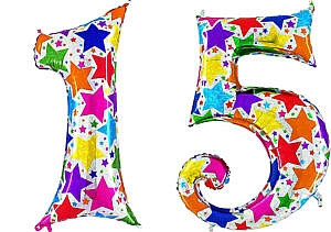 Luftballon Zahl 15 Zahlenballon silber mit bunten Sternen (100 cm)