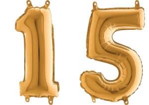 Luftballon Zahl 15 Zahlenballon gold (66 cm)