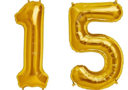 Luftballon Zahl 15 Zahlenballon gold (86 cm)