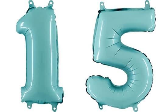 Luftballon Zahl 15 Zahlenballon pastell-blau (100 cm)