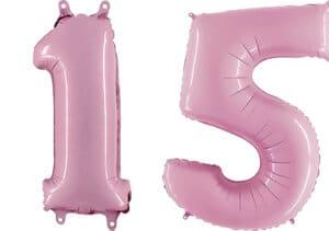 Luftballon Zahl 15 Zahlenballon pastell-pink (100 cm)