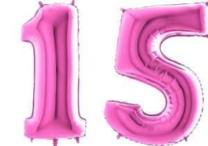 Luftballon Zahl 15 Zahlenballon pink (66 cm)