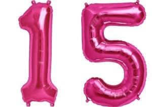 Luftballon Zahl 15 Zahlenballon pink (86 cm)