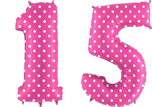 Luftballon Zahl 15 Zahlenballon pink mit weißen Punkten (100 cm)
