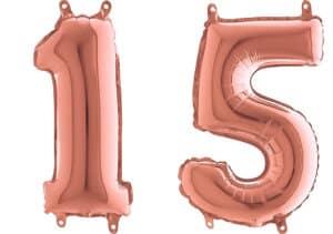 Luftballon Zahl 15 Zahlenballon rosegold (66 cm)
