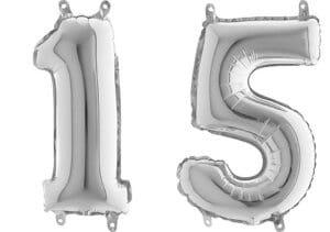 Luftballon Zahl 15 Zahlenballon silber (66 cm)