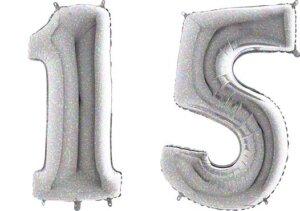 Luftballon Zahl 15 Zahlenballon silber-holographic (100 cm)