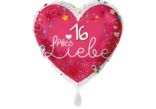 Herz Luftballon Alles Liebe Zahl 16 rot (38 cm)