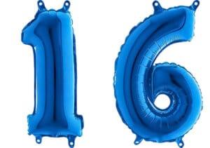 Luftballon Zahl 16 Zahlenballon blau (66 cm)