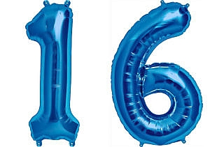 Luftballon Zahl 16 Zahlenballon blau (86 cm)