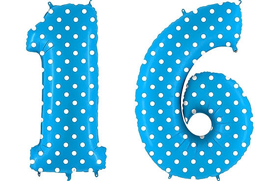 Luftballon Zahl 16 Zahlenballon blau mit weißen Punkten (100 cm)