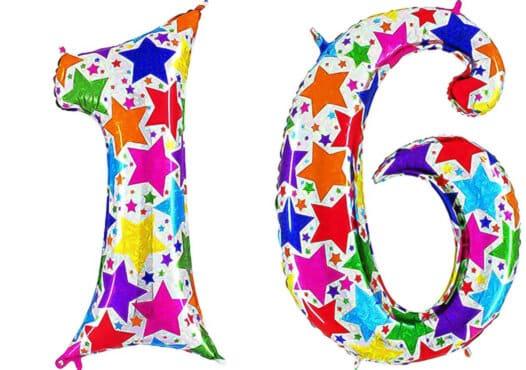 Luftballon Zahl 16 Zahlenballon silber mit bunten Sternen (100 cm)