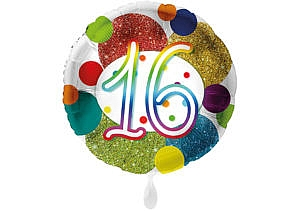 Glitzer-Luftballon mit der Zahl 16 in bunt (38 cm)
