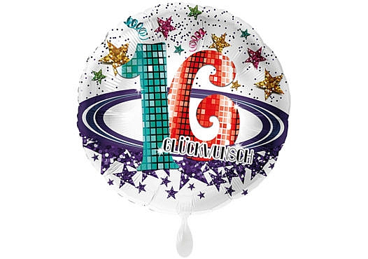 Runder Luftballon mit Glitzersternen und Zahl 16 in weiß (38 cm)