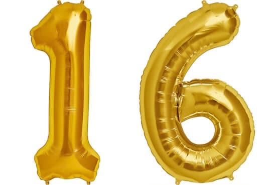 Luftballon Zahl 16 Zahlenballon gold (86 cm)