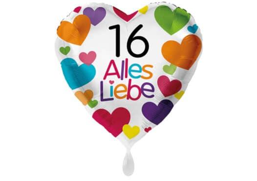 Herzluftballon mit kleinen Herzen Alles Liebe Zahl 16 weiß (38 cm)