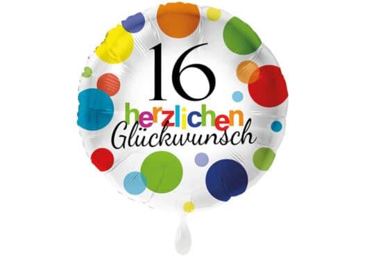 Runder Luftballon mit bunten Punkten Herzlichen Glückwunsch Zahl 16 weiß (38 cm)