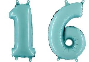 Luftballon Zahl 16 Zahlenballon pastell-blau (100 cm)
