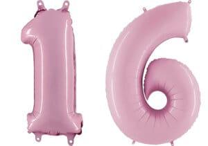 Luftballon Zahl 16 Zahlenballon pastell-pink (100 cm)