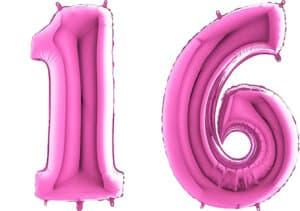 Luftballon Zahl 16 Zahlenballon pink (66 cm)
