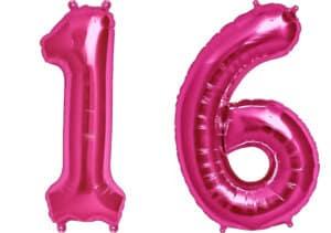 Luftballon Zahl 16 Zahlenballon pink (86 cm)