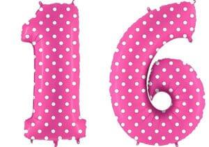 Luftballon Zahl 16 Zahlenballon pink mit weißen Punkten (100 cm)