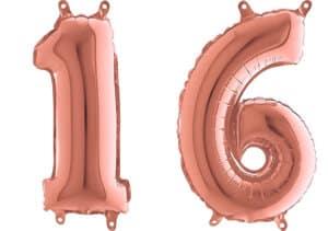 Luftballon Zahl 16 Zahlenballon rosegold (66 cm)