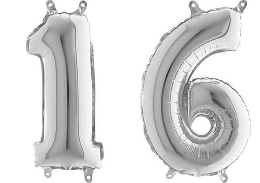 Luftballon Zahl 16 Zahlenballon silber (66 cm)