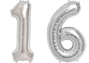 Luftballon Zahl 16 Zahlenballon silber (86 cm)