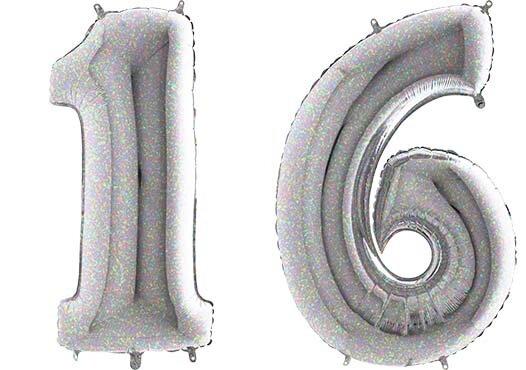 Luftballon Zahl 16 Zahlenballon silber-holographic (100 cm)