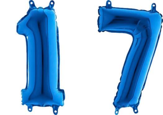 Luftballon Zahl 17 Zahlenballon blau (66 cm)