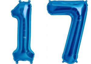 Luftballon Zahl 17 Zahlenballon blau (86 cm)