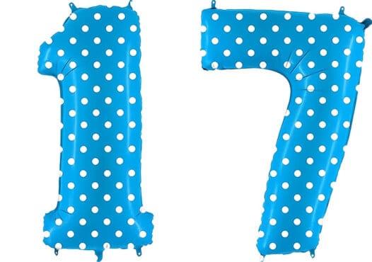 Luftballon Zahl 17 Zahlenballon blau mit weißen Punkten (100 cm)