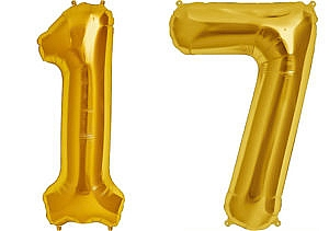 Luftballon Zahl 17 Zahlenballon gold (86 cm)