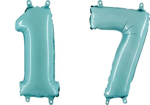 Luftballon Zahl 17 Zahlenballon pastell-blau (100 cm)