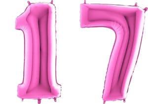 Luftballon Zahl 17 Zahlenballon pink (66 cm)
